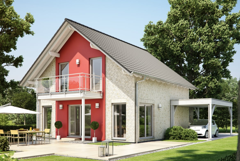 Einfamilienhaus mit Klinker Fassade & Satteldach, 5 Zimmer, 125 qm - Fertighaus Living Haus SUNSHINE 126 V3 - HausbauDirekt.de
