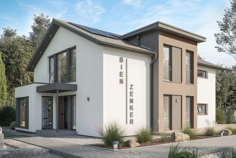 Modernes Einfamilienhaus mit Satteldach & Zwerchgiebel Erker, 5 Zimmer Grundriss, 195 qm - Bien Zenker Fertighaus CONCEPT-M 163 Dresden - HausbauDirekt.de