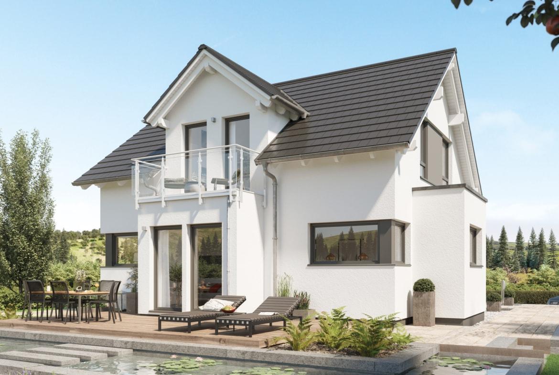 Einfamilienhaus Neubau mit Satteldach, Zwerchgiebel, Erker & Balkon, 4 Zimmer, 125 qm - Bien Zenker Fertighaus EDITION 125 V2 - HausbauDirekt.de