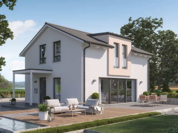 Einfamilienhaus Neubau mit Satteldach & Zwerchgiebel, 4 Zimmer, 125 qm - Haus bauen Ideen Bien Zenker Fertighaus EDITION 125 V3 - HausbauDirekt.de