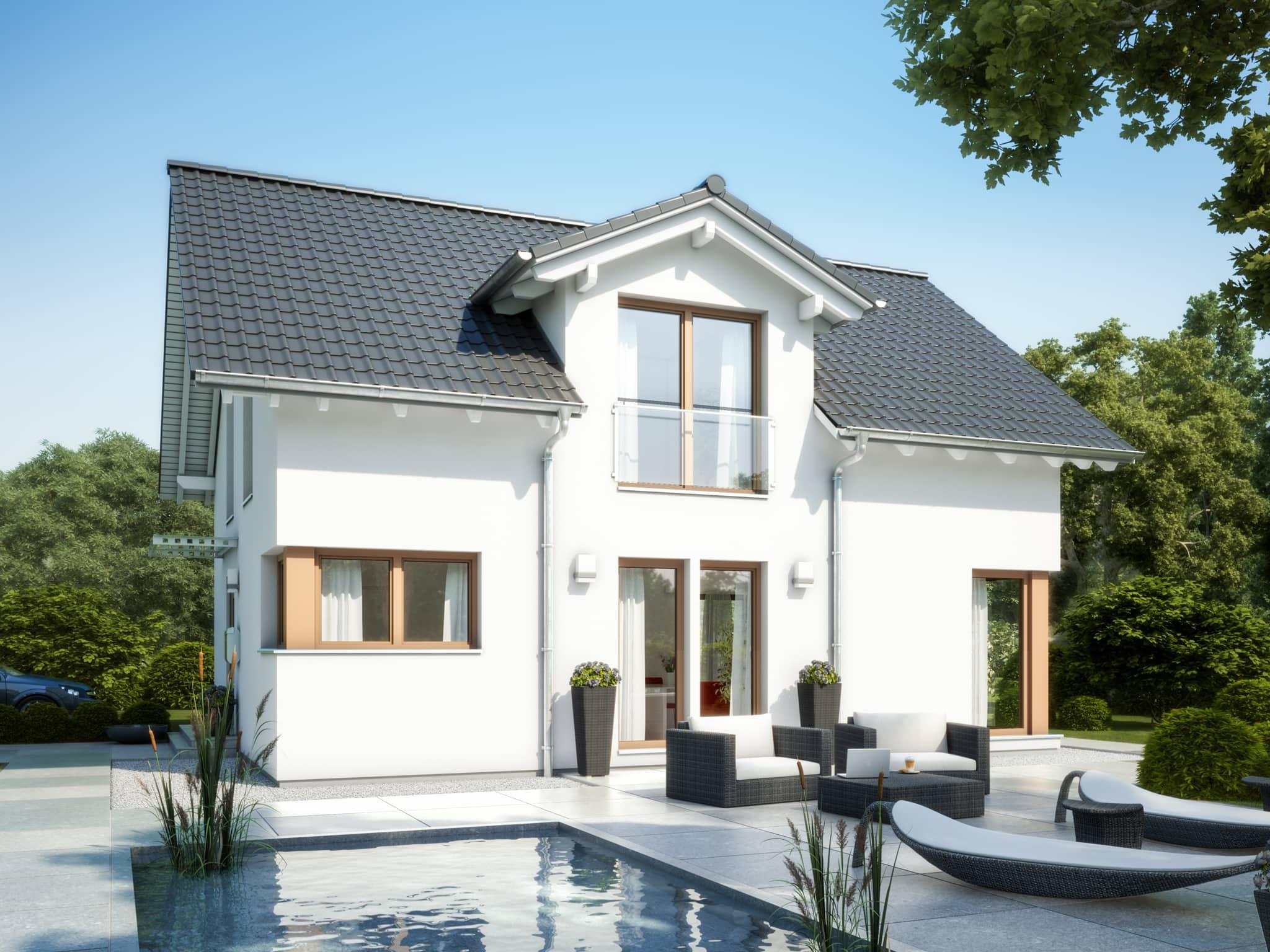 Modernes Einfamilienhaus mit Satteldach Architektur & Zwerchgiebel - Haus bauen Ideen Bien Zenker Fertighaus EVOLUTION 134 V3 - HausbauDirekt.de