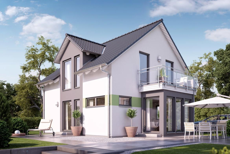 Einfamilienhaus mit Satteldach Architektur, 5 Zimmer, 125 qm - Fertighaus Living Haus SUNSHINE 126 V2 a - HausbauDirekt.de