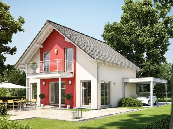 Fertighaus mit Satteldach & Balkon, 5 Zimmer, 125 qm - Einfamilienhaus Neubau Living Haus SUNSHINE 126 V3 - HausbauDirekt.de