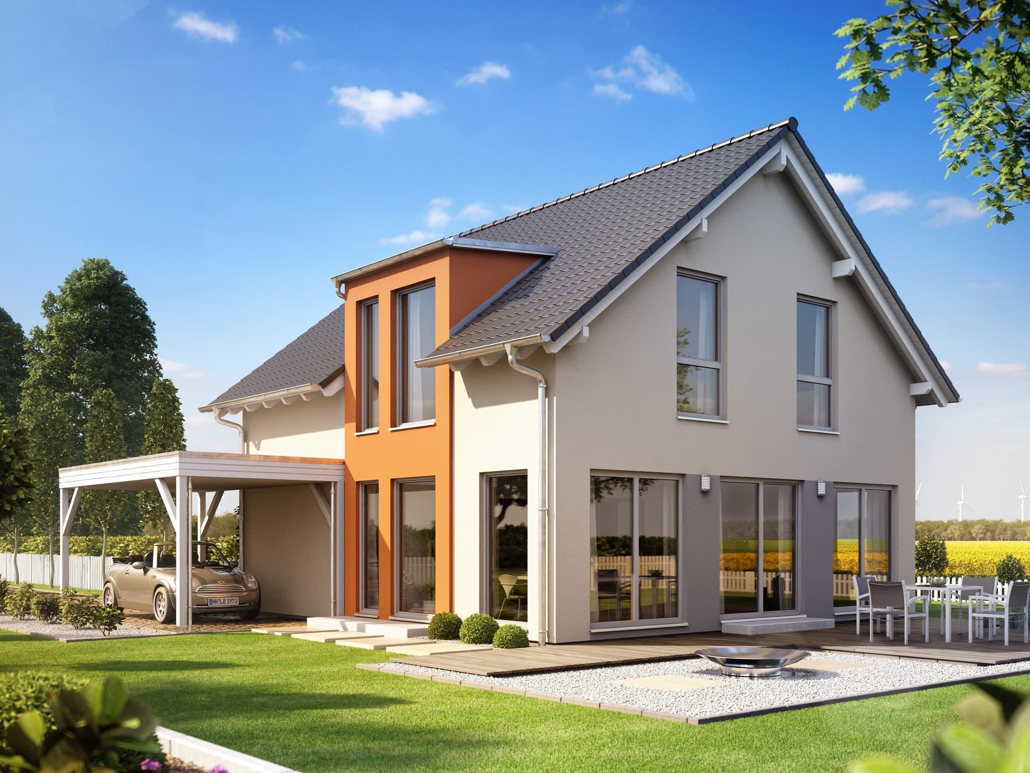 Einfamilienhaus mit Satteldach & Carport, 5 Zimmer, 135 qm - Haus bauen Ideen Fertighaus Living Haus SUNSHINE 136 V2 a - HausbauDirekt.de