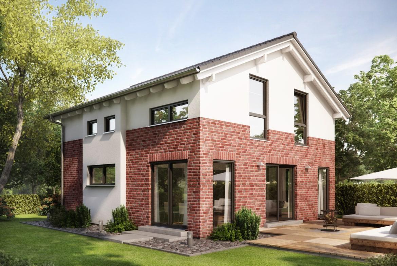 Einfamilienhaus mit Satteldach & Klinker Putz Fassade, 5 Zimmer, 135 qm - Haus bauen Ideen Fertighaus Living Haus SUNSHINE 136 V4 a - HausbauDirekt.de