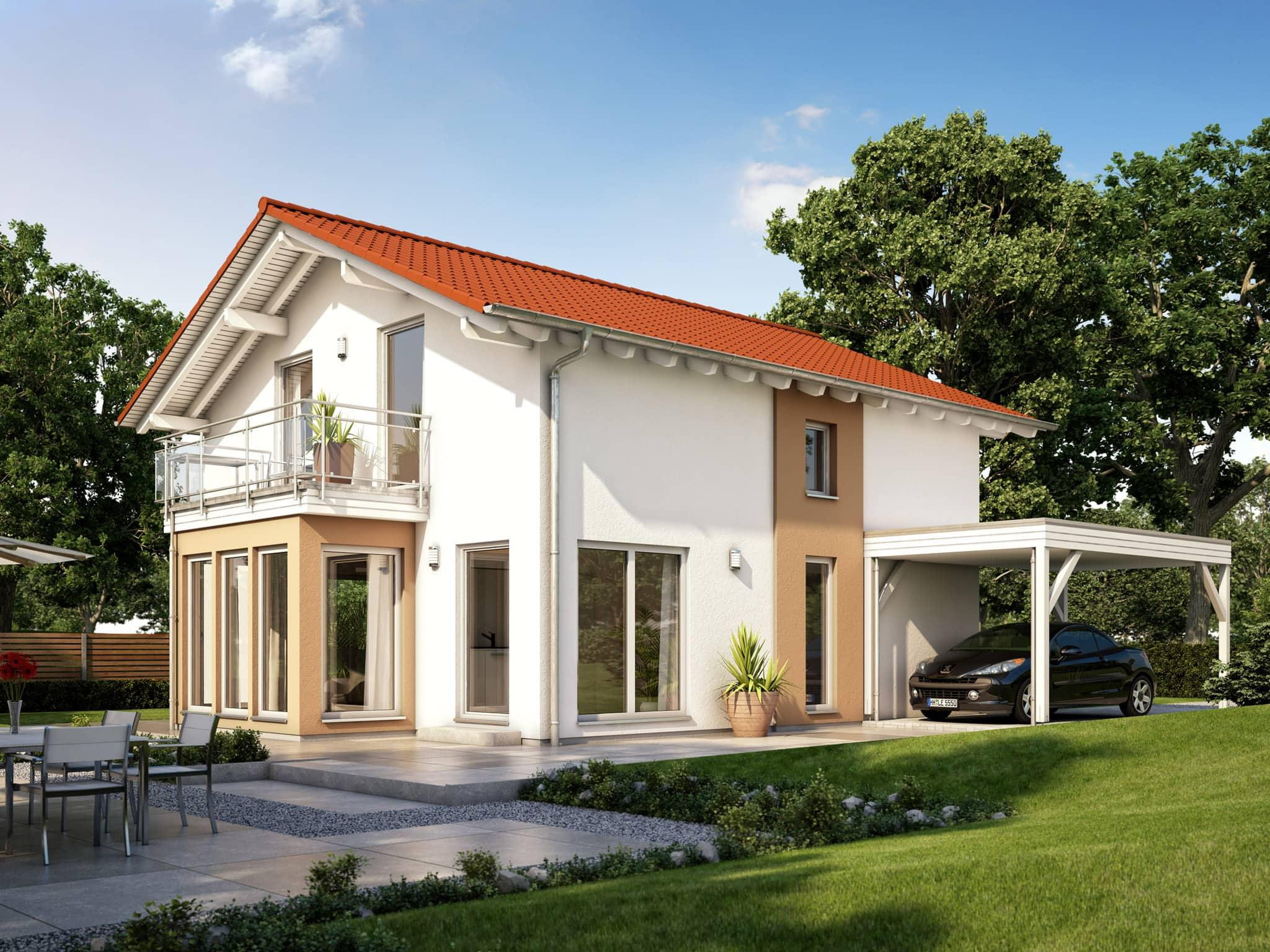Einfamilienhaus mit Satteldach, Carport & Wintergarten Erker mit Balkon - Fertighaus Living Haus SUNSHINE 136 V5 - HausbauDirekt.de