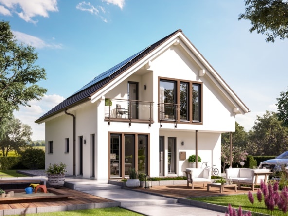 Einfamilienhaus klassisch mit Satteldach, Erker & Balkon, 5 Zimmer, 140 qm - Fertighaus Living Haus SUNSHINE 144 V2 - HausbauDirekt.de