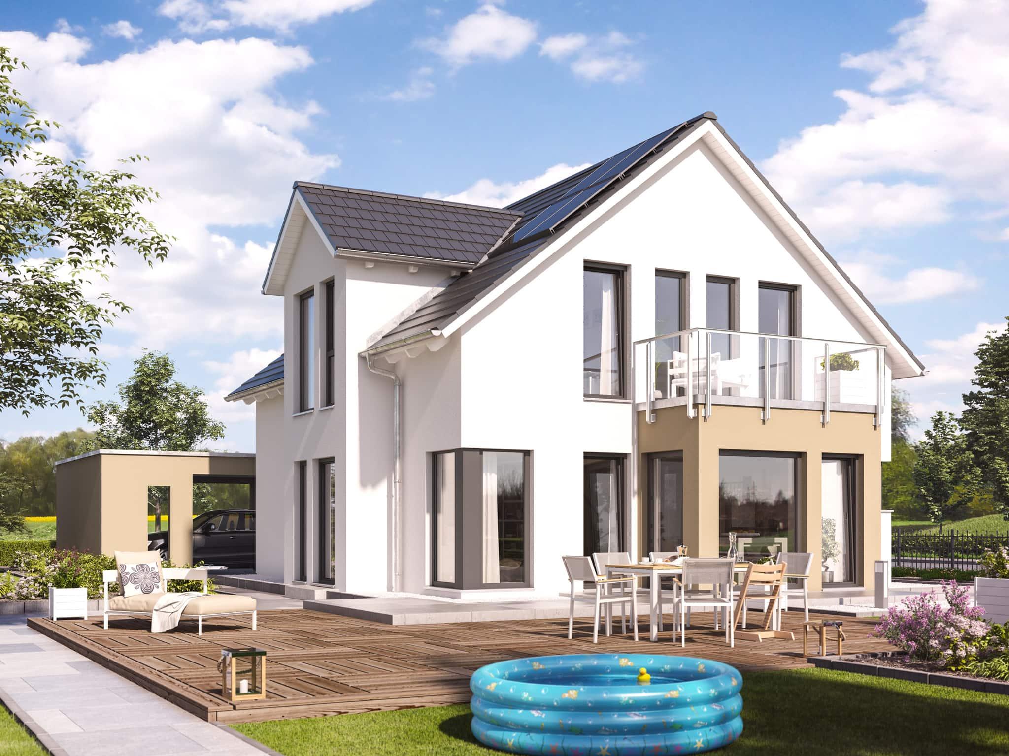 Einfamilienhaus mit Satteldach, Galerie & Carport, 5 Zimmer, 140 qm - Fertighaus Living Haus SUNSHINE 144 V3 - HausbauDirekt.de