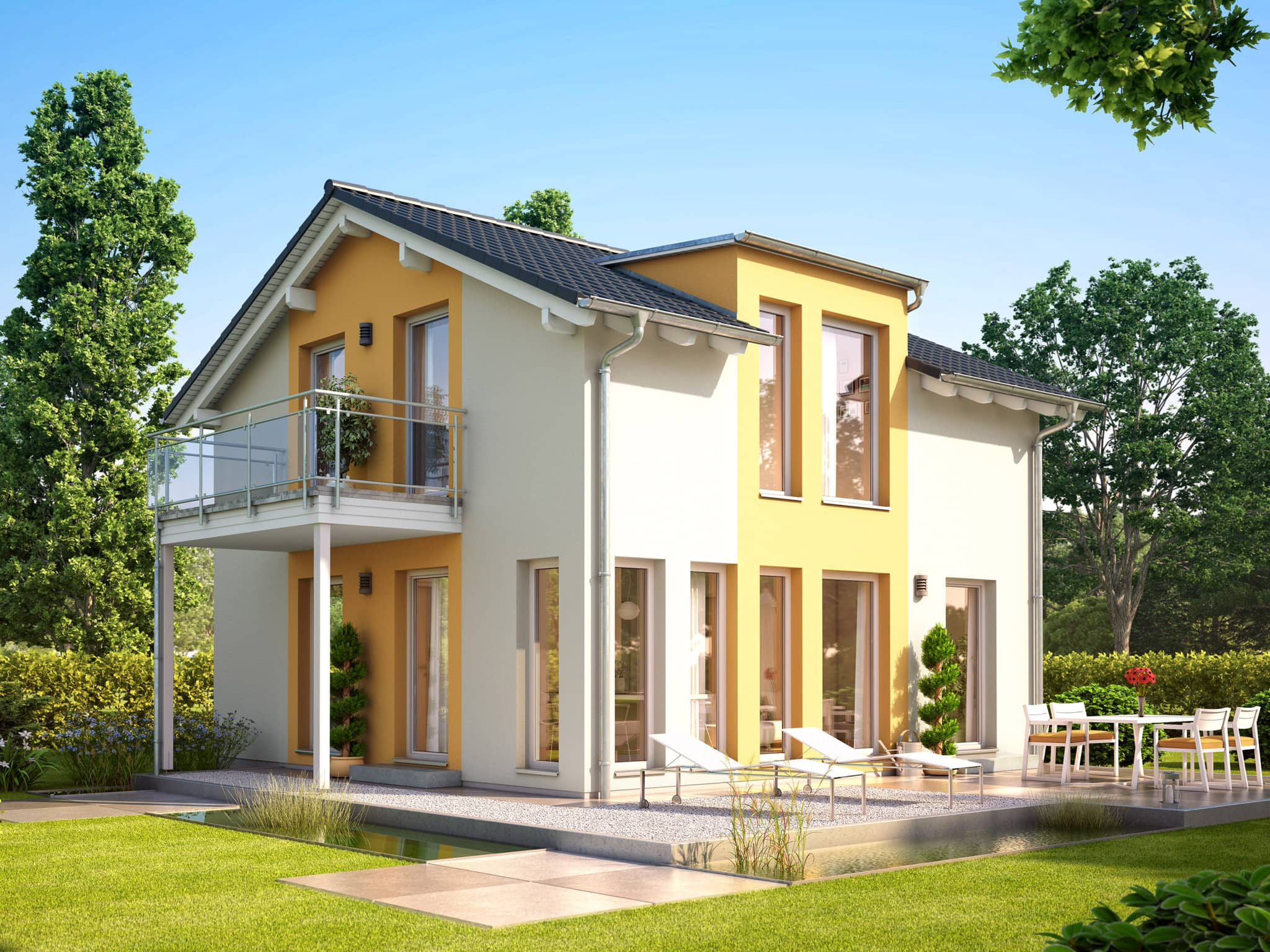 Einfamilienhaus mit Satteldach Architektur, Zwerchgiebel & Balkon, 114 qm, 5 Zimmer - Haus bauen Ideen Fertighaus SUNSHINE 113 V4 von Living Haus - HausbauDirekt.de