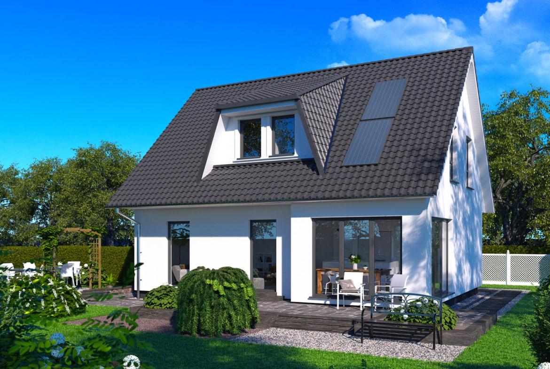 Einfamilienhaus klassisch mit Satteldach Architektur & Gaube, 4 Zimmer, 110 qm - Haus bauen Ideen ScanHaus Marlow Fertighaus SH 124 VARIANTE B - HausbauDirekt.de