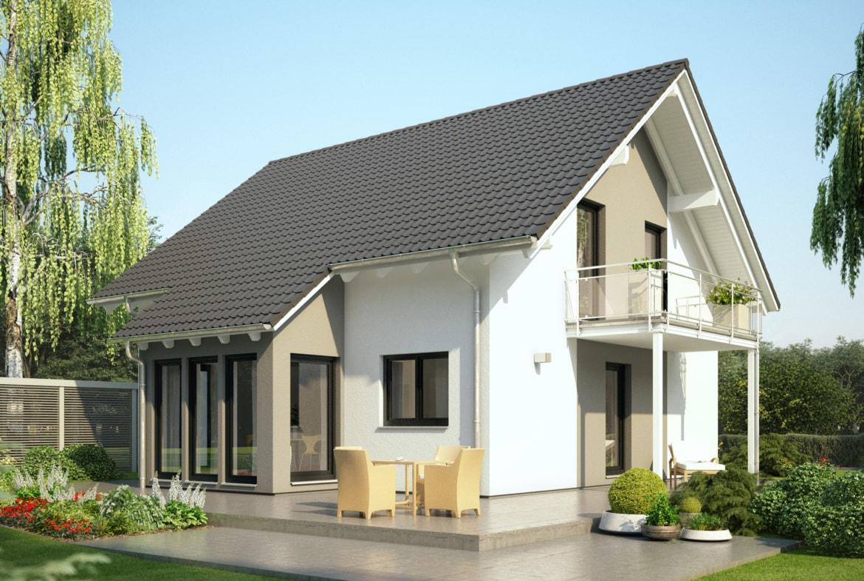 Einfamilienhaus Neubau klassisch mit Satteldach Architektur, Wintergarten Erker & Balkon - Haus bauen Ideen Bien Zenker Fertighaus EVOLUTION 143 V3 - HausbauDirekt.de