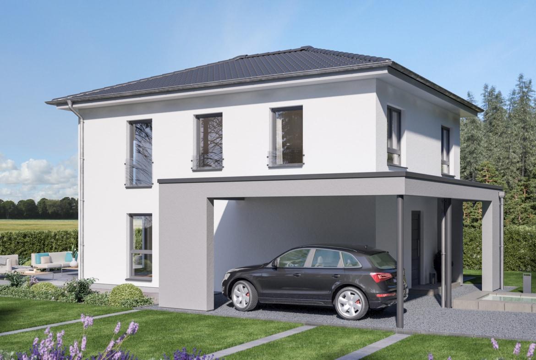 Einfamilienhaus mit Walmdach Architektur & integrierte Carport Garage mit überdachtem Hauseingang - Haus bauen Ideen Bien Zenker Fertighaus EVOLUTION 139 V8 - HausbauDirekt.de