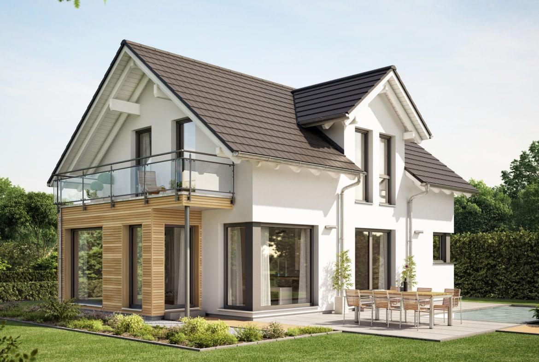 Einfamilienhaus mit Satteldach Zwerchgiebel, Wintergarten Erker & Balkon - Haus bauen Ideen Fertighaus EVOLUTION 122 V3 von Bien Zenker - HausbauDirekt.de