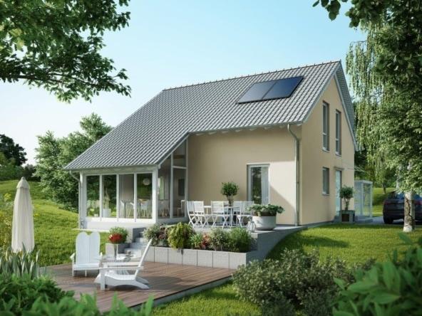 Einfamilienhaus mit Wintergarten & Satteldach Architektur, 4 Zimmer, 120 qm - Fertighaus bauen Ideen GUSSEK HAUS Kastanienallee - HausbauDirekt.de