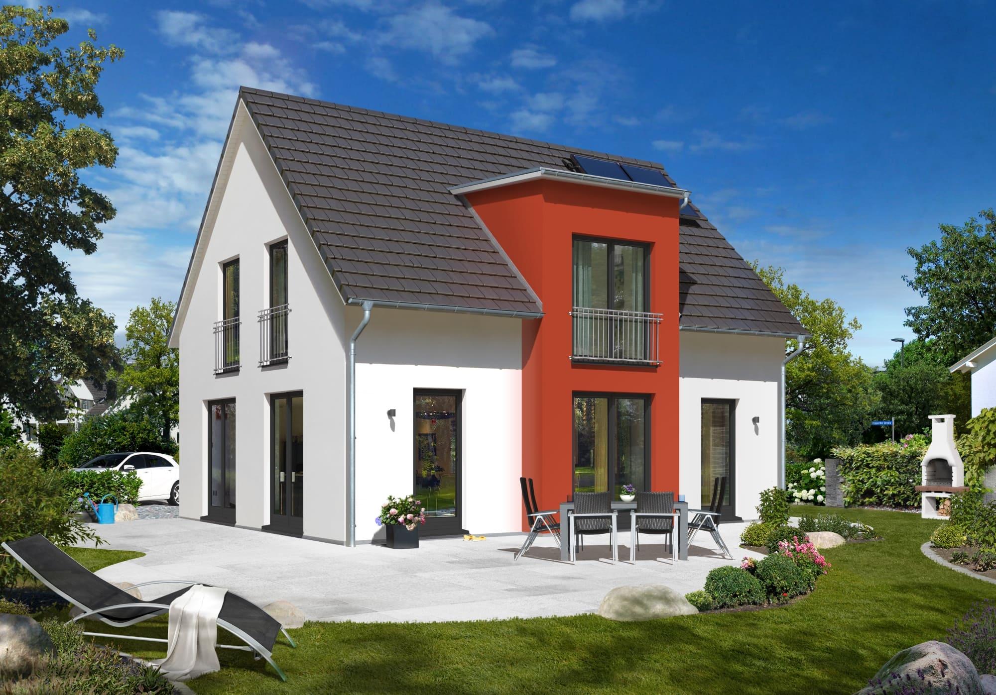 Einfamilienhaus modern mit Satteldach Architektur & Zwerchgiebel Erker mit Flachdach, 120 qm, 4 Zimmer - Massivhaus schlüsselfertig bauen Ideen Town Country Haus Lichthaus 121 Style - HausbauDirekt.de