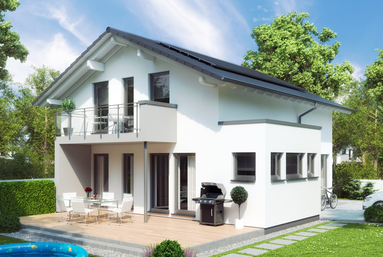 Einfamilienhaus Neubau mit flachem Satteldach, Erker & Balkon - Fertighaus SUNSHINE 144 V5 von Living Haus - HausbauDirekt.de