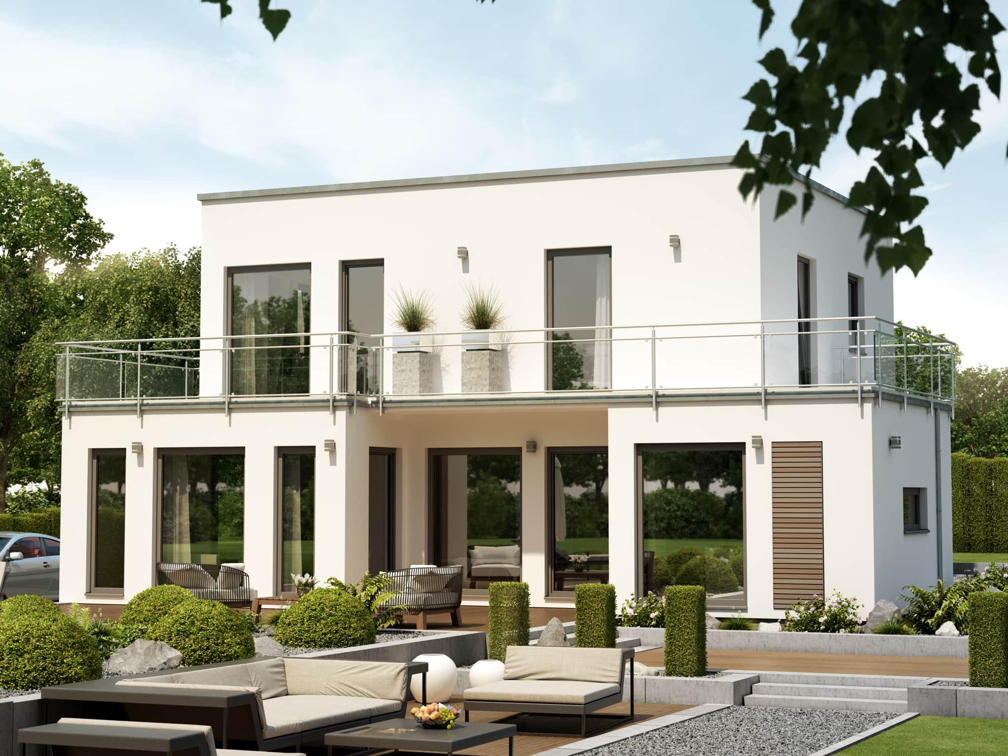 Einfamilienhaus modern mit Flachdach im Bauhausstil, 5 Zimmer, 125 qm - Fertighaus Living Haus SUNSHINE 125 V7 - HausbauDirekt.de
