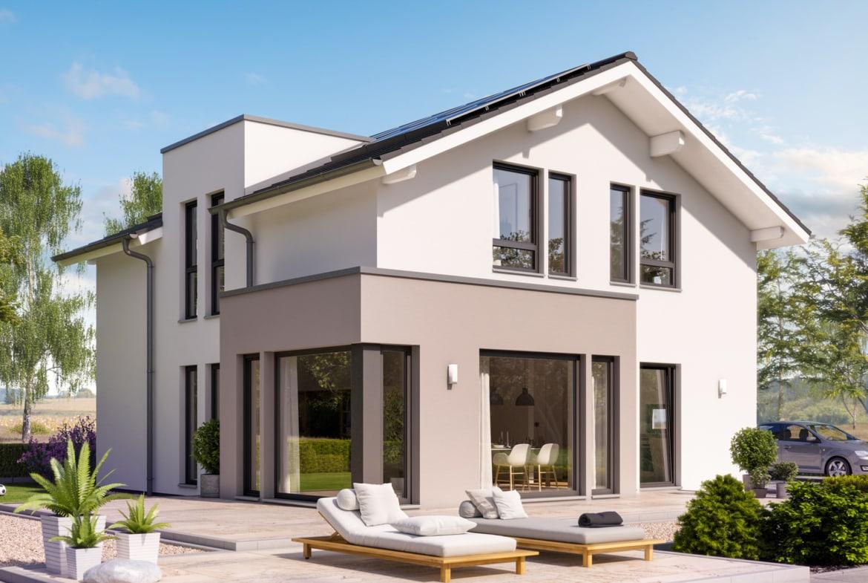 Einfamilienhaus modern mit Satteldach, 5 Zimmer Grundriss, 140 qm - Living Haus Fertighaus SUNSHINE 144 V4 - HausbauDirekt.de
