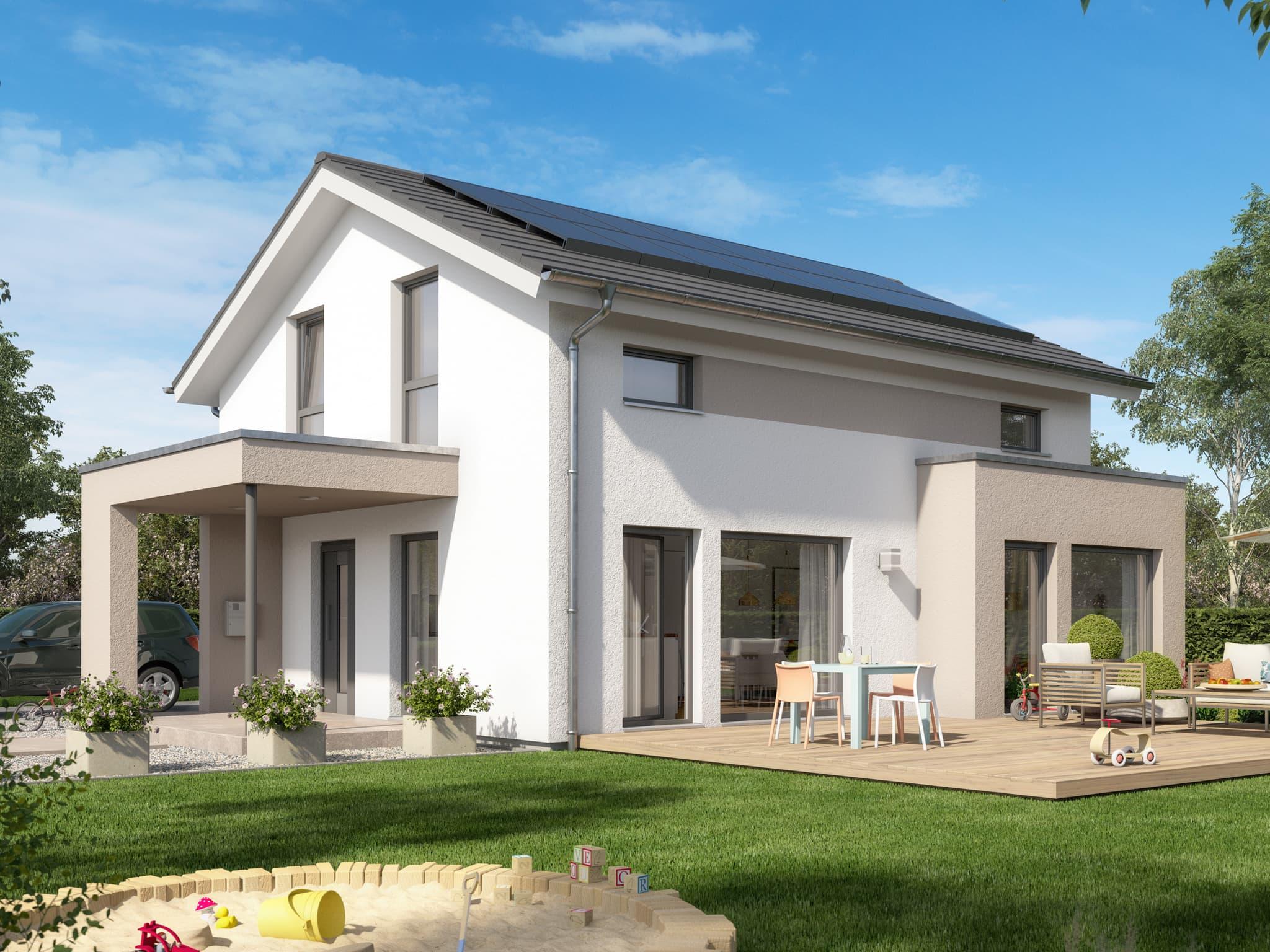 Einfamilienhaus modern mit Satteldach & Erker - Fertighaus Living Haus SUNSHINE 125 V5 - HausbauDirekt.de