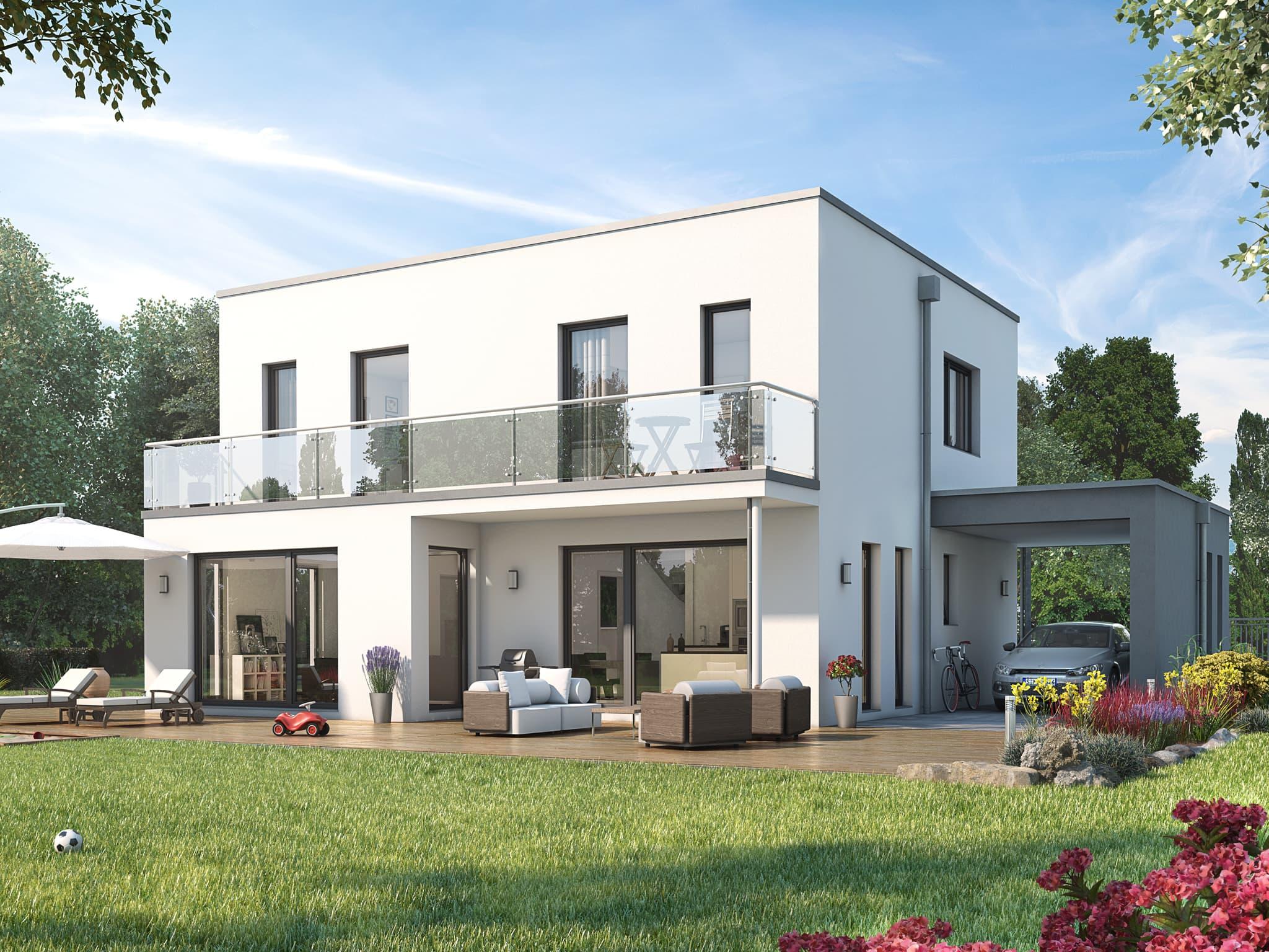 Einfamilienhaus modern mit Flachdach Architektur im Bauhausstil, 5 Zimmer, 145 qm - Fertighaus bauen Ideen Living Haus SUNSHINE 143 V7 - HausbauDirekt.de