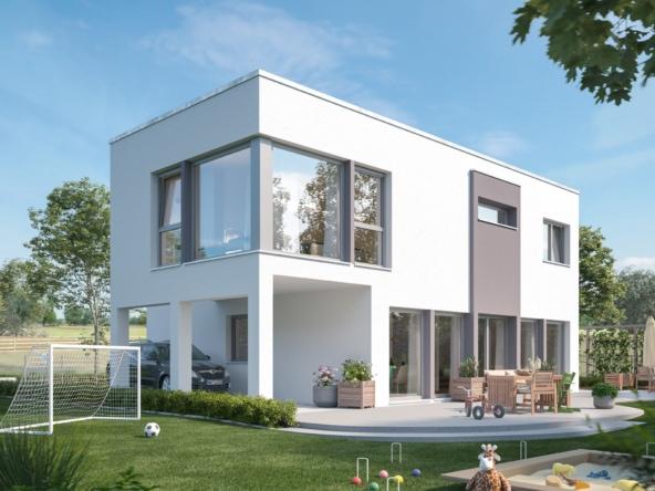 Einfamilienhaus modern mit Flachdach & Carport, 5 Zimmer, 154 qm - Living Haus Fertighaus SUNSHINE 154 V7 - HausbauDirekt.de