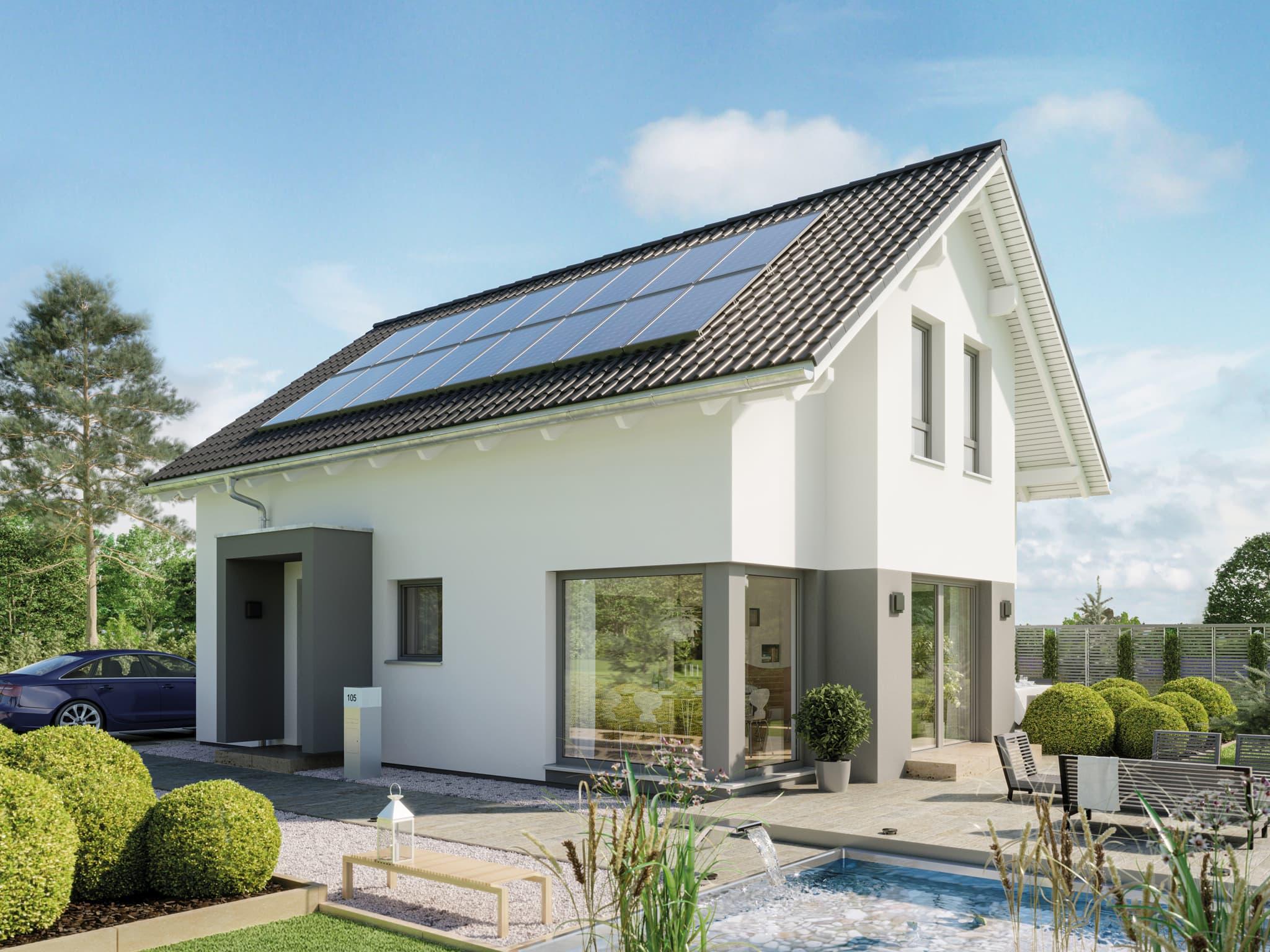 Einfamilienhaus Neubau modern mit Satteldach & Giebel-Erker, 5 Zimmer, 120 qm - Haus bauen Ideen Bien Zenker Fertighaus EDITION 123 V2 - HausbauDirekt.de