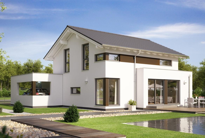 Einfamilienhaus Neubau modern mit Satteldach, Erker & integriertem Carport - Haus bauen Ideen Fertighaus EVOLUTION 124 V4 von Bien Zenker - HausbauDirekt.de