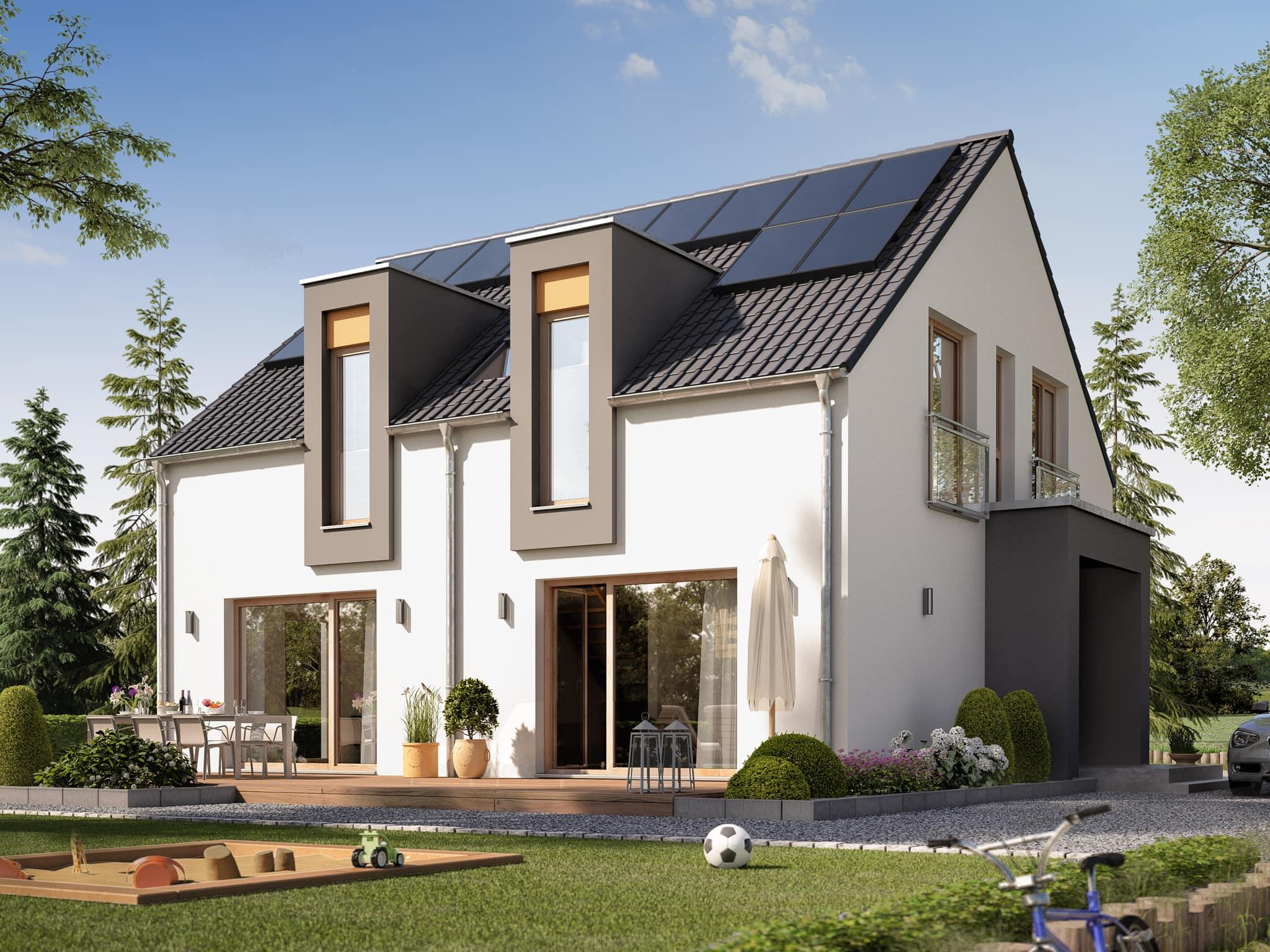 Einfamilienhaus modern mit Satteldach ohne Dachüberstand, 5 Zimmer, 150 qm - Fertighaus Living Haus SUNSHINE 154 V3 - HausbauDirekt.de