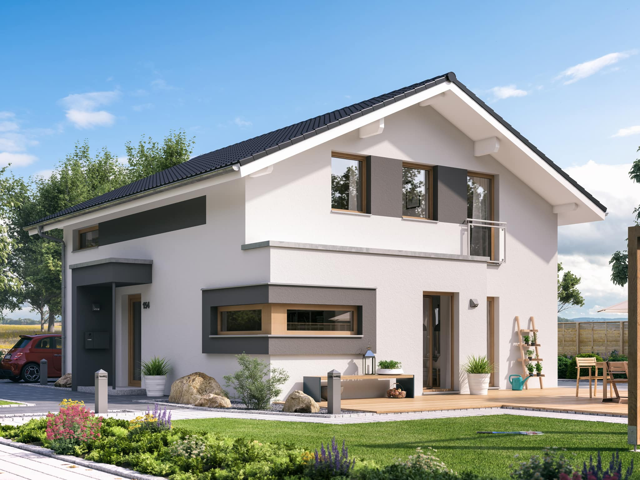Haus Design modern mit Satteldach & Putz Fassade mit Erker, 5 Zimmer Grundriss, 150 qm - Fertighaus Living Haus SUNSHINE 154 V5 - HausbauDirekt.de