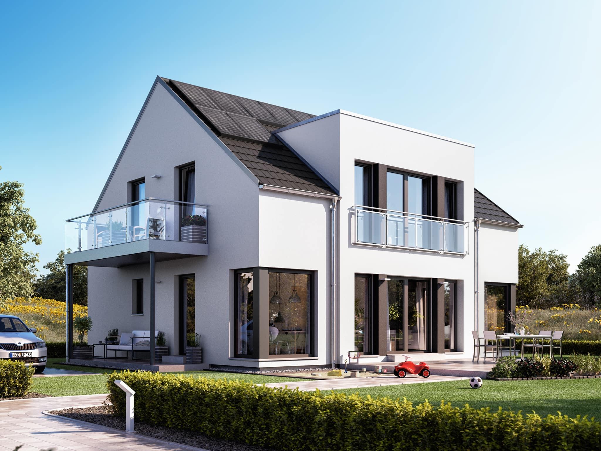 Einfamilienhaus modern mit Satteldach ohne Dachüberstand, Zwerchgiebel & Balkon, 5 Zimmer, 165 qm - Fertighaus SUNSHINE 165 V3 von Living Haus - HausbauDirekt.de