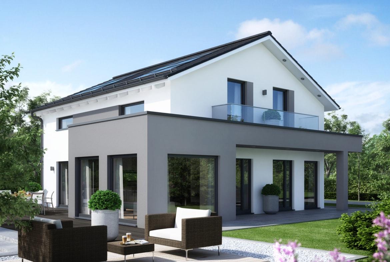 Einfamilienhaus modern mit Satteldach, Erker & Balkon, 5 Zimmer Grundriss, 165 qm - Fertighaus SUNSHINE 165 V4 von Living Haus - HausbauDirekt.de