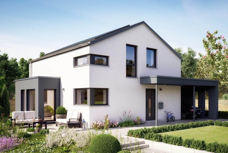 Einfamilienhaus modern mit Satteldach, Carport & Erker, 5 Zimmer, 145 qm - Living Haus Fertighaus SUNSHINE 143 V5 - HausbauDirekt.de