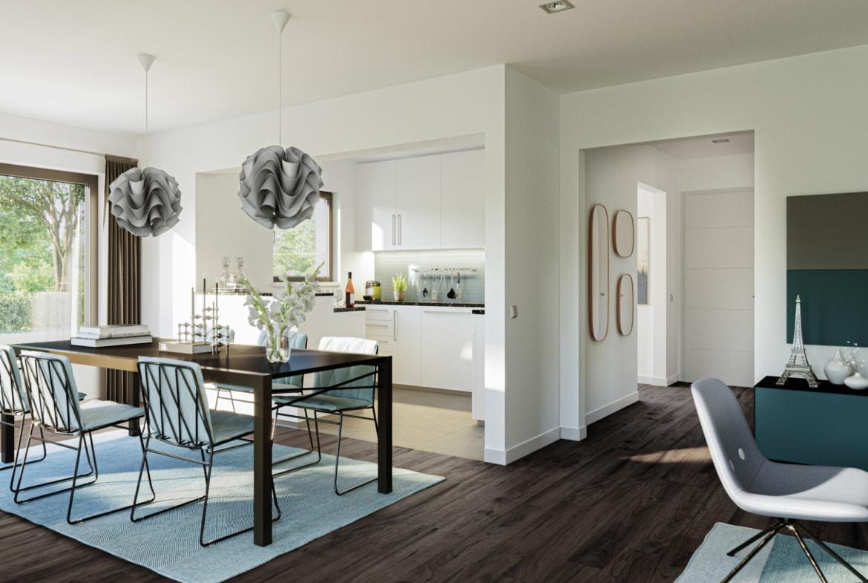 Wohnküche modern mit großem Esstisch - Ideen Inneneinrichtung Haus Design Bien Zenker Fertighaus EDITION 123 V3 - HausbauDirekt.de