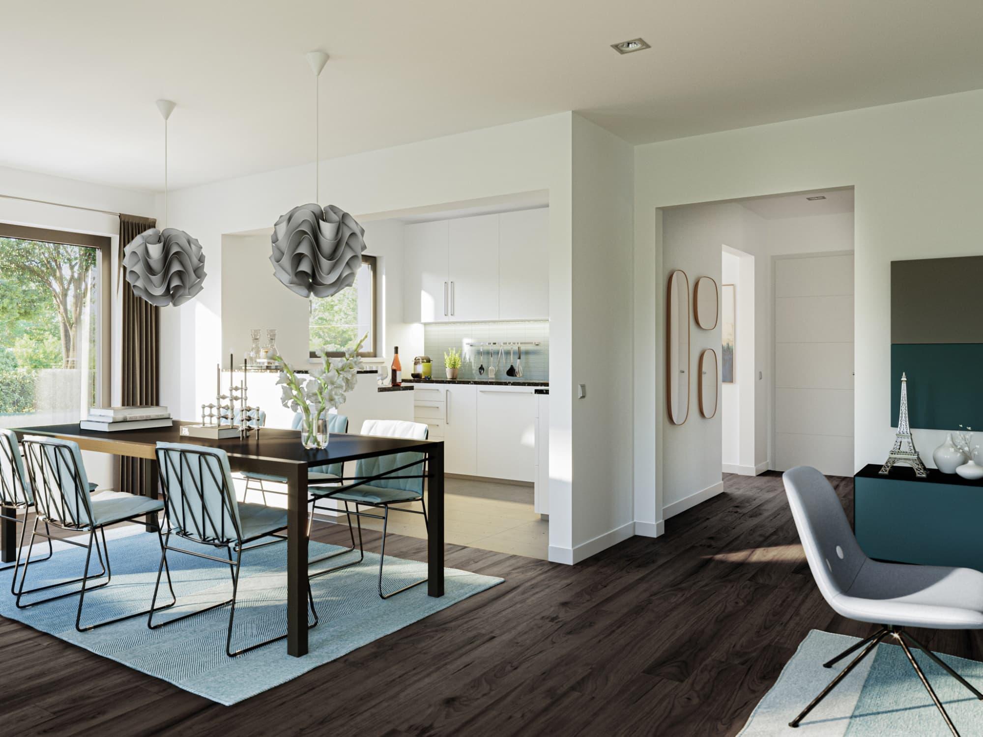 Offene Küche mit Esszimmer und großem Esstisch - Haus Design Ideen Inneneinrichtung Stadtvilla Bien Zenker Fertighaus EDITION 123 V5 - HausbauDirekt.de