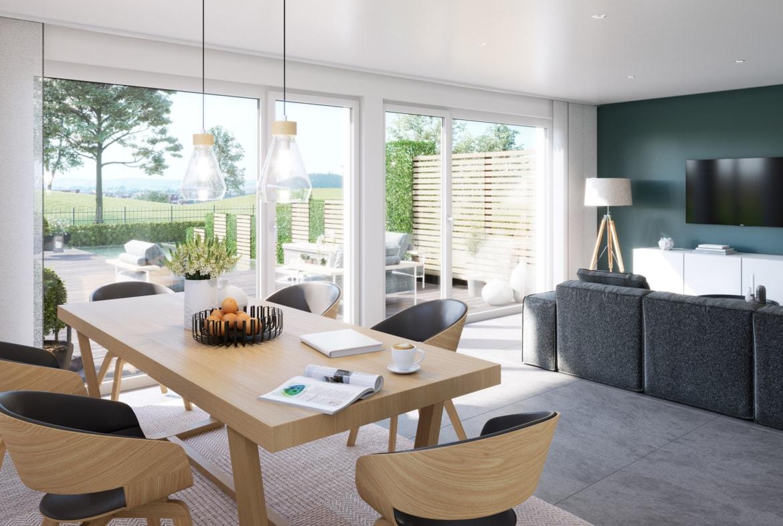 Esszimmer Ideen modern mit Esstisch aus Holz - Doppelhaus innen Fertighaus Bien Zenker CELEBRATION 122 V5 XL - HausbauDirekt.de