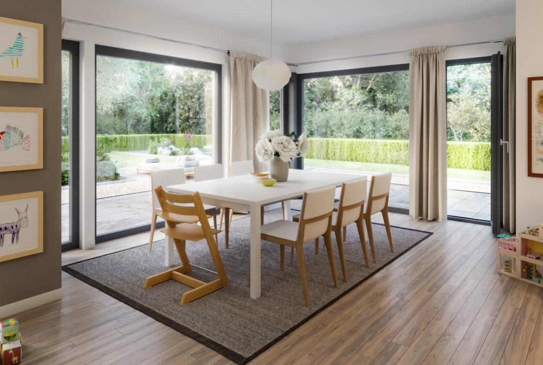 Esszimmer Ideen - Inneneinrichtung Fertighaus Stadtvilla Living Haus SUNSHINE 144 V7 - HausbauDirekt.de