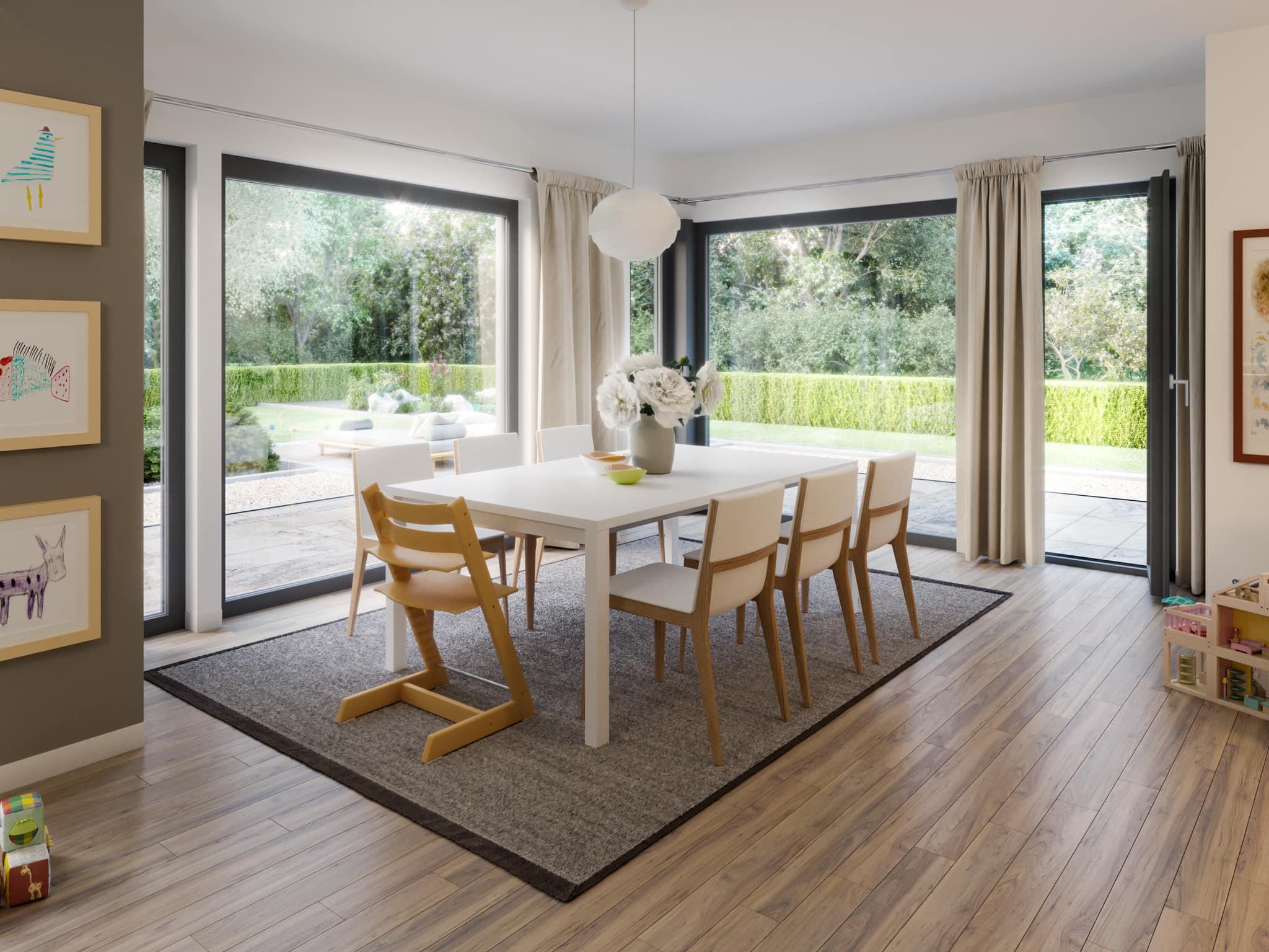 Helles Esszimmer mit großen Fenstern - Ideen Inneneinrichtung Fertighaus SUNSHINE 144 V5 Living Haus - HausbauDirekt.de