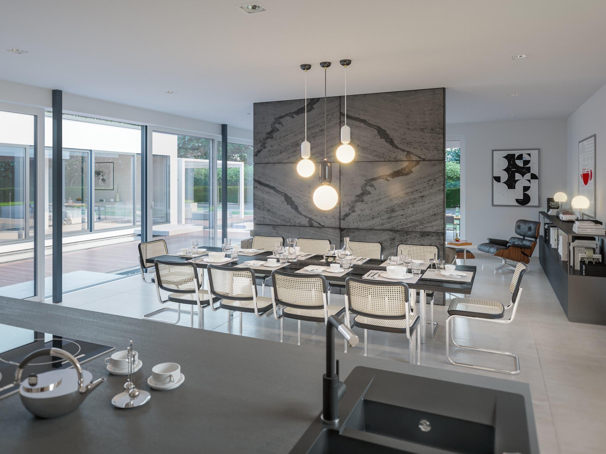 Inneneinrichtung Ideen Esstisch Wohnzimmer Fertighaus Bungalow AMBIENCE 209 Bien Zenker Haus - HausbauDirekt.de