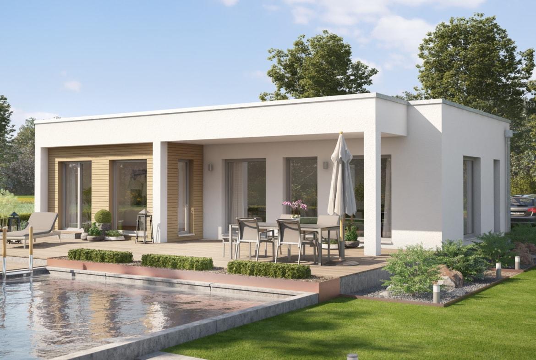 Fertighaus Bungalow AMBIENCE 77 V4 Flachdach Bien Zenker Haus