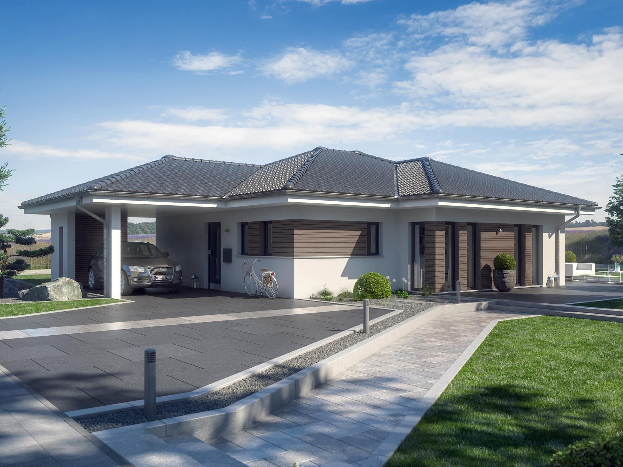 Fertighaus Bungalow AMBIENCE 88 V3 Walmdach Bien Zenker - Haus bauen Ideen HausbauDirekt.de