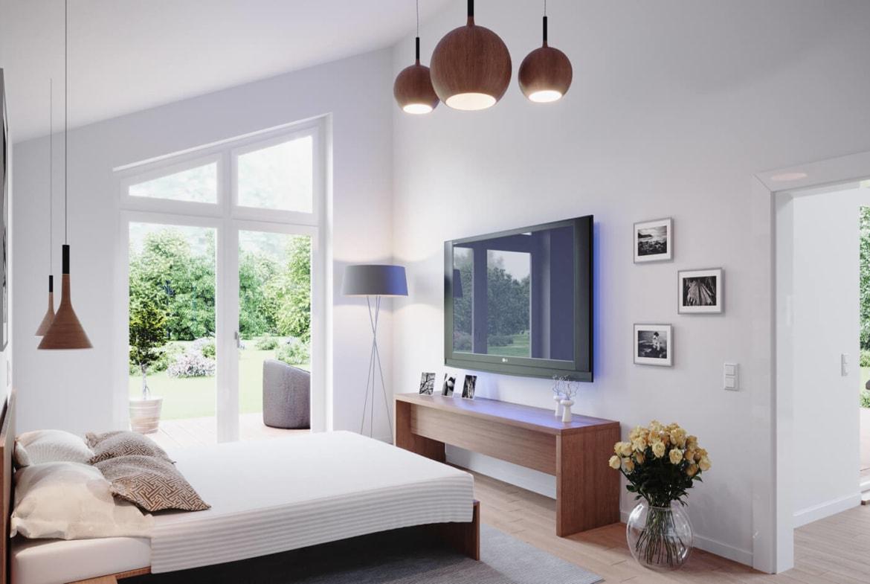 Schlafzimmer Inneneinrichtung modern - Fertighaus Bungalow Haus Design innen ScanHaus Marlow SH 147 B - HausbauDirekt.de