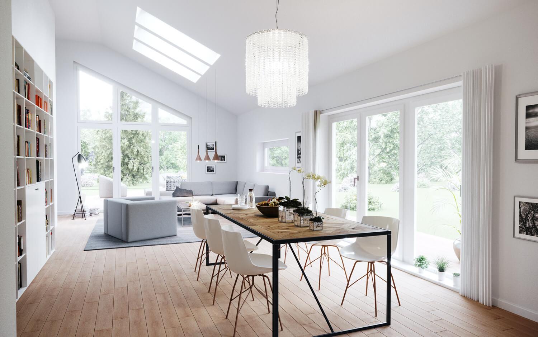 Wohn- Esszimmer Inneneinrichtung modern - Fertighaus Bungalow Haus Design innen ScanHaus Marlow SH 147 B - HausbauDirekt.de