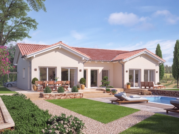 Mediterraner Bungalow mit Satteldach Architektur & Innenhof Terrasse - Fertighaus bauen Ideen Bungalow Haus AMBIENCE 111 V2 von Bien Zenker - HausbauDirekt.de