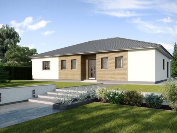 Fertighaus Bungalow mit Walmdach & Holz Putz Fassade, 4 Zimmer, 150 qm - Haus bauen Ideen Einfamilienhaus Madeira von GUSSEK HAUS - HausbauDirekt.de