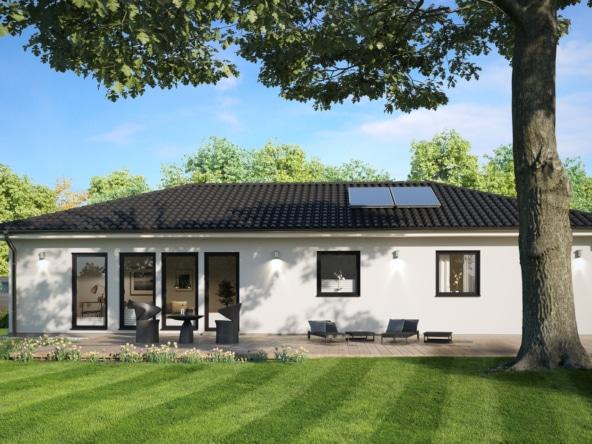 Fertighaus Bungalow mit Walmdach Architektur - Einfamilienhaus ebenerdig bauen Ideen ScanHaus Marlow Haus SH 105 B XXL - HausbauDirekt.de