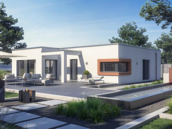 Fertighaus Bungalow modern mit Flachdach Architektur im Bauhausstil, 120 qm, 4 Zimmer - Haus eingeschossig bauen Ideen Winkelbungalow AMBIENCE 110 V4 von Bien Zenker - HausbauDirekt.de
