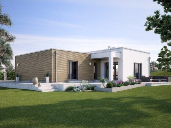 Fertighaus Bungalow modern mit Flachdach & Holz Putz Fassade, barrierefrei - Winkelbungalow bauen Ideen GUSSEK HAUS Venetien - HausbauDirekt.de