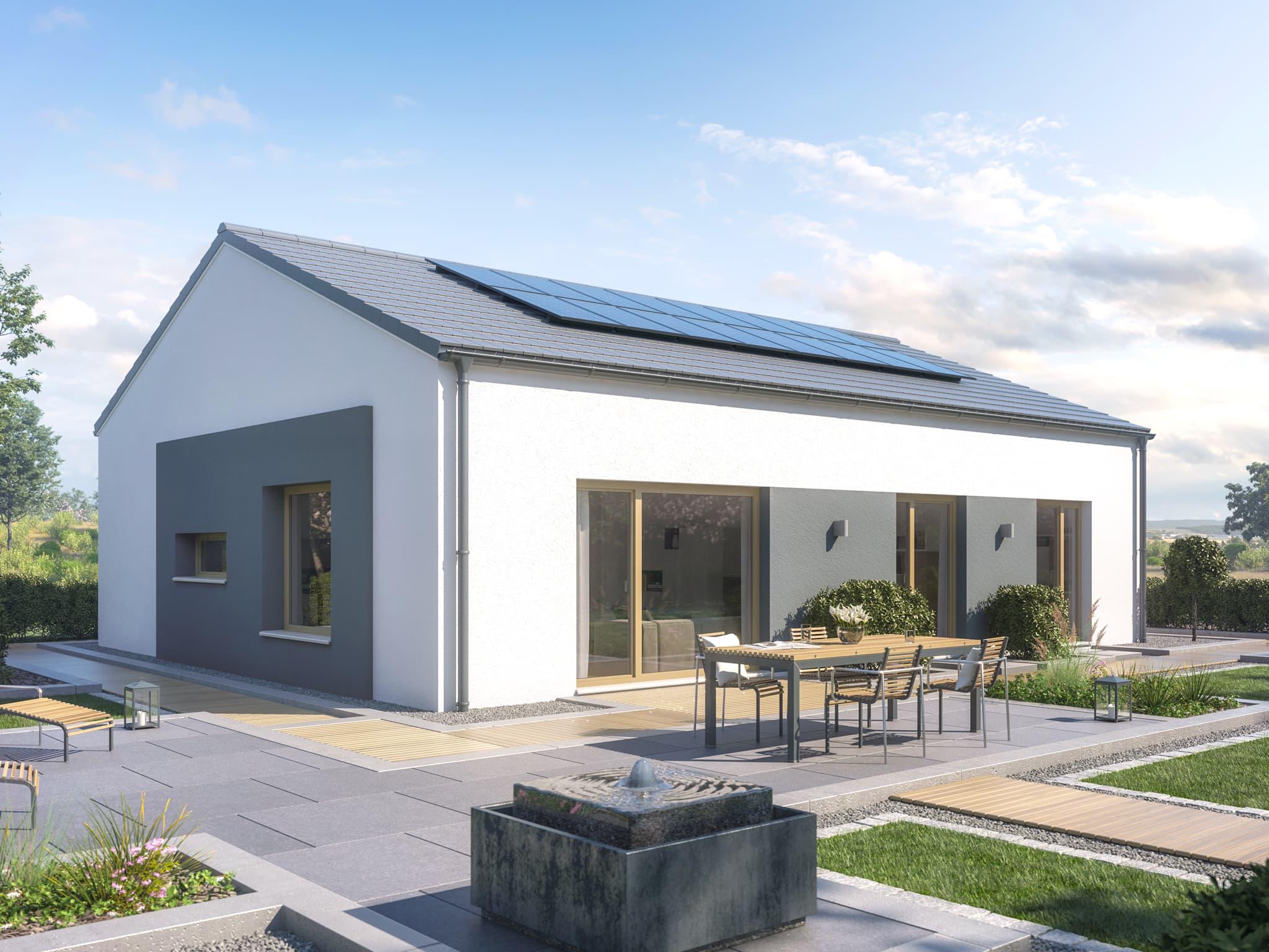 Fertighaus Bungalow modern mit Satteldach Architektur ohne Dachüberstand - Haus ebenerdig bauen Ideen Bungalow AMBIENCE 110 V2 von Bien Zenker - HausbauDirekt.de