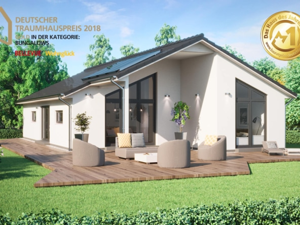 Fertighaus Bungalow modern mit Satteldach, 4 Zimmer Grundriss, 130 qm - ScanHaus Marlow Haus SH 147 B - HausbauDirekt.de
