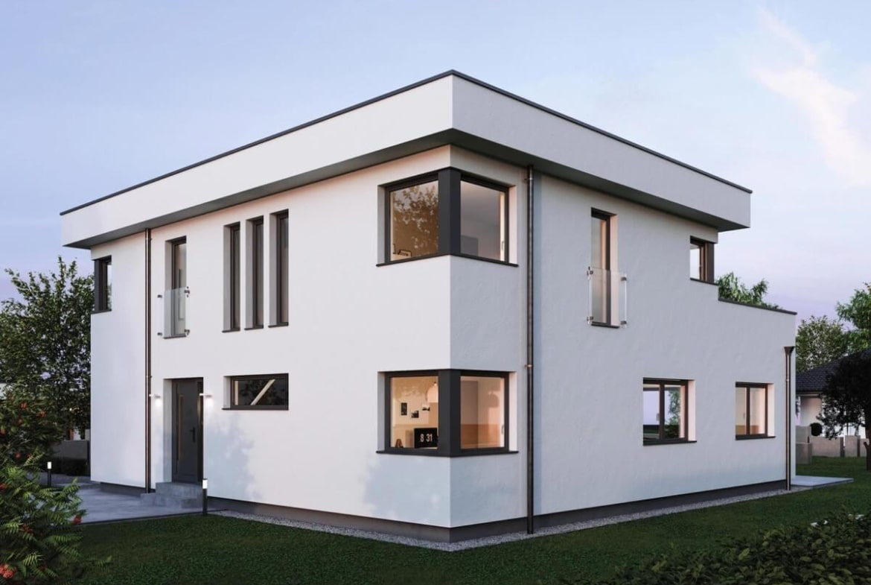 Einfamilienhaus Neubau modern im Bauhausstil mit Flachdach & Putz Fassade weiss - Haus Design Ideen Fertighaus ELK Haus 186 - HausbauDirekt.de